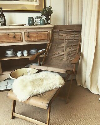 Vintage/Antique Bamboo Chair With Foot Stool