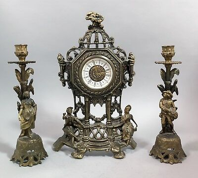 Rococo french empire style 3 piece garniture clock figurines mantelpiece candle