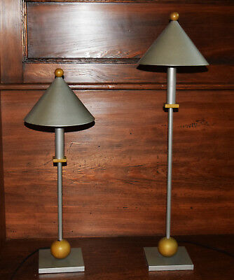 Pair of Contemporary Table Lamps Mid-Century Architectural Design Retro - Modern