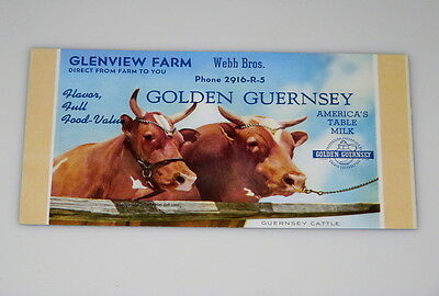 Moo'ee Nice Unused GLENVIEW FARM Webb Brothers GOLDEN GUERNSEY Milk Ink Blotter