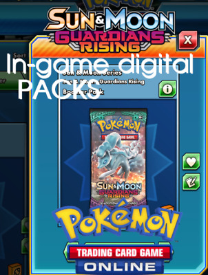 50 x Pokemon GUARDIANS RISING Packs TCGO PTCGO TCG Online Unused  Sent FAST!