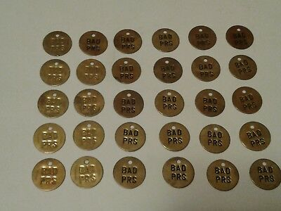 Vintage Lot of 30 Brass Metal Number Round Tags Key Valve Gas Utility