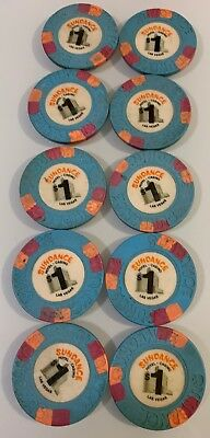 Sundance $1 Lot of 10 Casino Chip Las Vegas Nevada 2.99 Shipping