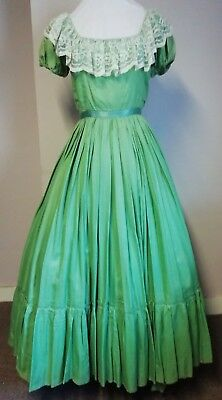 "Green Victorian style dress 34"" Bust"