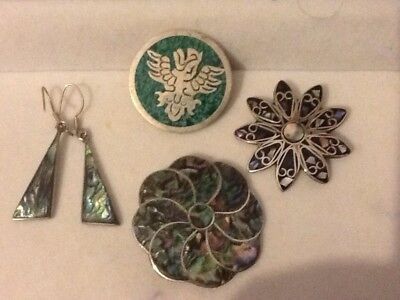 JOB LOT Vintage COLLECTION Alpaca Mexico Silver BROOCHES /EARRINGS