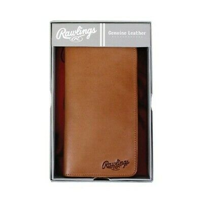 00c8f2059a3 RAWLINGS BLACK LEATHER Wallet Baseball Scoreboard   Tri-Fold   New ...