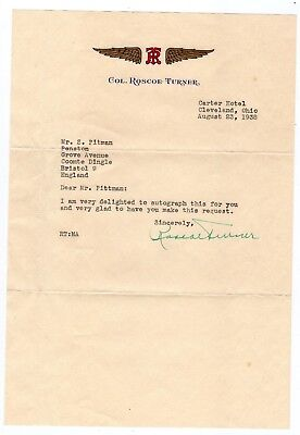 ROSCOE TURNER 1895-1970 Record breaking American aviator.Typed letter signed.