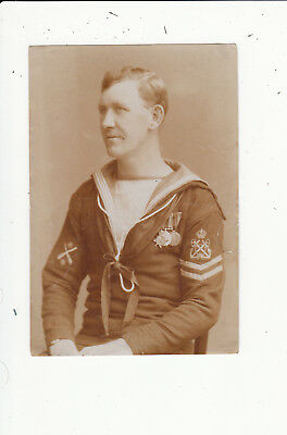 WW1 Sailor with Medals Vintage Photograph