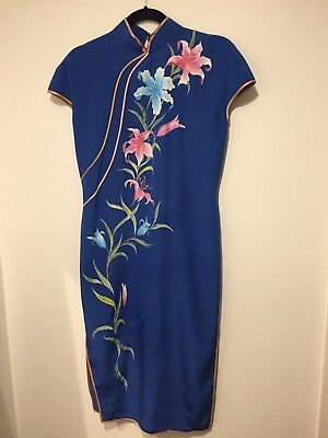 Blue Ladies Dress With Hand Painted Flowers
