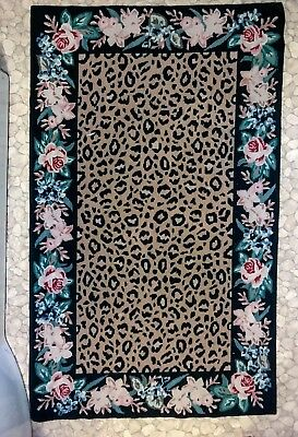 Tapestry Stitched Leopard And Flower Rug