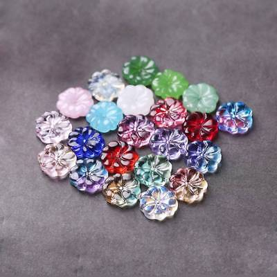 10pcs 15.5mm Charms Lampwork Plum Flower Glass Loose Beads DIY Jewelry Making
