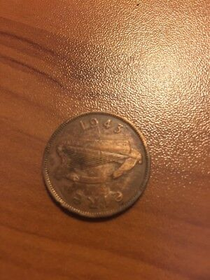 Old Ireland Coin - 1943 Half PennySow & Piglets -Damage or mint error on Sow