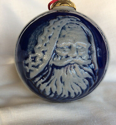 1997 Rowe Pottery large Santa face Collectible Ornament