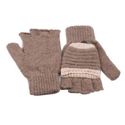Convertible Fingerless Gloves Glove Mitt Flip Mittens Men Women Winter Warm G