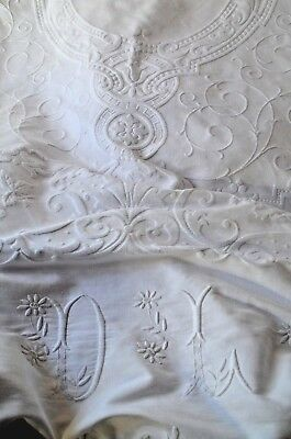 """Antique French hand embroidered pure cotton """"Marcella"""" bed cover, 2 DL monograms"""