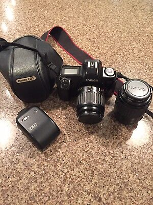 Canon EOS 1000F 35mm SLR Film Camera with  Two Lenses, Flash and Carry Case.