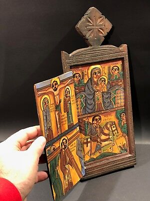 Christian naive hand-painted wood icon panel w/ door carved crucifixion Outsider