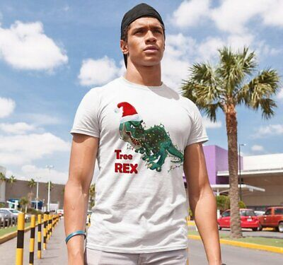 Tree Rex Unisex T-Shirt TRex Shir Christmas Printed Short Sleeve Hand Made Tee