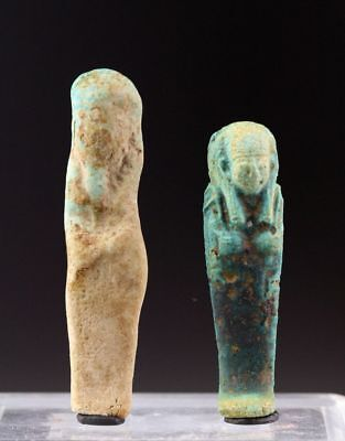*sc*lot Of Two Egypt Egyptian Faiance Ushaptis, Late Period!