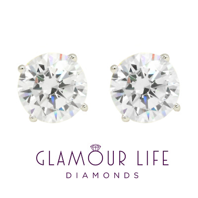 3 Ct Round Earrings Studs Solid 14K White Gold Brilliant Cut Basket Screw Back