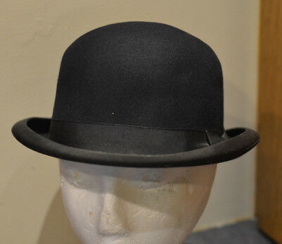 Vintage John B. Stetson Derby Bowler Hat Size 7 Black Steampunk Great Condition