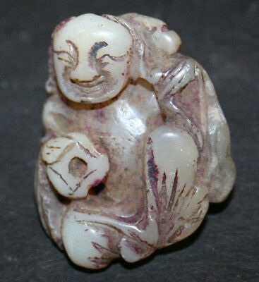 Old Carved Chinese Jade Toggle Pendant Happy Buddha Pale Green White