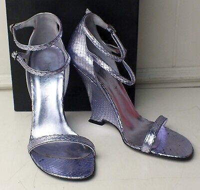 117ca832718 Yves Saint Laurent Wedge Sandals Lavender 11 / 41 Metallic Python Strappy  YSL