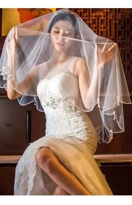 white/ivory Wedding veil Elbow lenght Bridal beaded Veil 2-Tier +comb