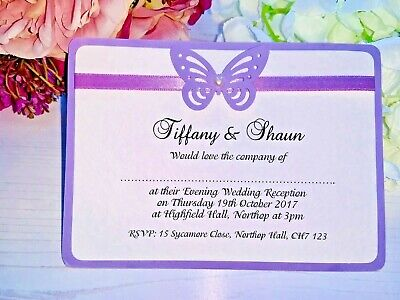 Butterfly Evening Wedding Invites (50) Lilac with Matching Ribbon & Pearls