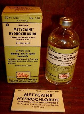 Vintage Eli Lilly Metycaine Hydrochloride Anesthesia Bottle Piperocaine Ampoule