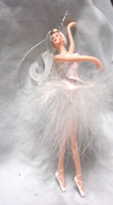 "6.5"" plastic ballerina Christmas Ornament white feather tutu & glitter headband"