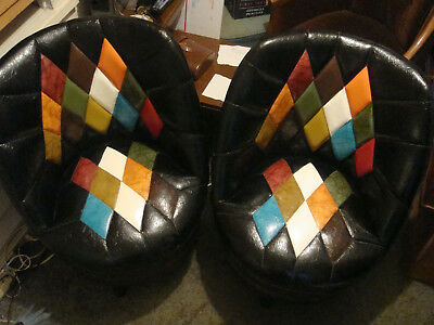 Pair Vtg Mid-Century Chairs Danish Modern Whiskey Barrel Swivel Club Bro's KY NR