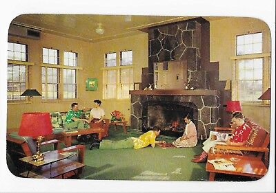 Vintage Postcard of People Relaxing at Crater Lounge, Kilauea Military Camp Hawa