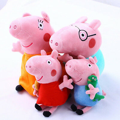 "4 Pcs PEPPA PIG Family Stuffed Plush 12"" DAD MOM 8"" Children Christmas Xmas Gift"