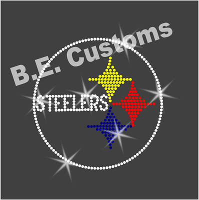 "8/"" by 8/"" Rhinestone Transfer /""STEELERS/"" Hotfix Iron On"