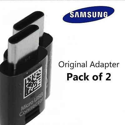 OEM Original Samsung Micro USB to USB Type-C Adapter S8/S9/ Note Black Pack of 2
