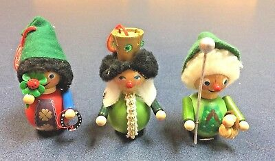 Vintage Made In West Germany Steinbach Wood Ornaments - Lot Of 3