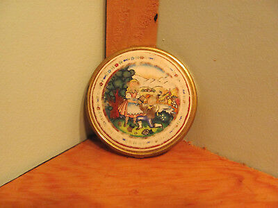 Vintage Courting  Porcelain Front Gold Metal Round 2 Mirror Compact with Stand