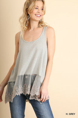 b4f3b547b9e UMGEE Heather Grey Embroidered Lace Hem Cami Extender Tank Top SML Plus XL  1X 2X