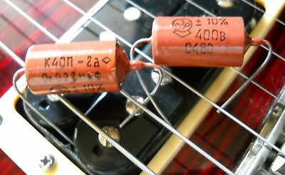 Pair .022 uf  400v K40N-2A RUSSIAN PAPER IN OIL CAPACITORS - NEW OLD STOCK