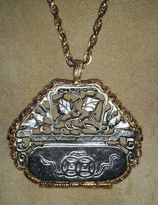 Signed KENNETH LANE Large Silver & Gold Mid Century Pendant Necklace
