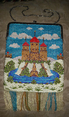 """Large 11x7"""" Antique 1920's Micro Glass Beaded SCENIC CASTLE PURSE Double Sided"""