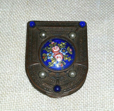 Antique Jeweled Bronze PATCH PILL BOX w/Enameled Roses made in France