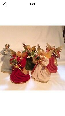 German Angels Christmas Tree Toppers Lot Of 5