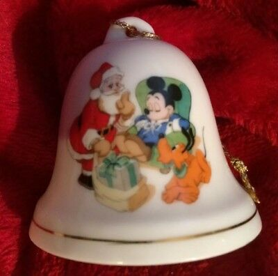 Vintage Mickey Mouse Santa Clause Pluto Grolier Disney Christmas Bell Ornament