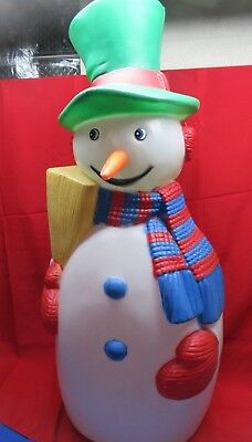 """1988 Snowman With Carrot Nose Top Hat Holding Broom 40"""" TPI Light Up Blow Mold"""