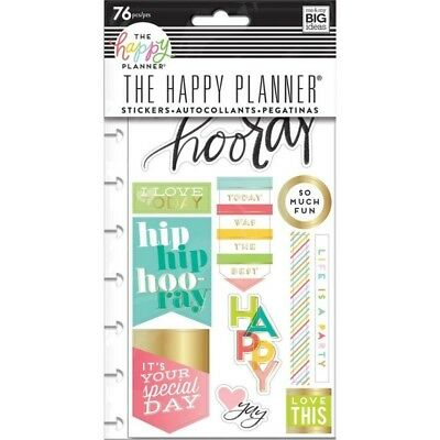 Happy Planner Stickers - I Love Today MAMBI 5 Sheets pre-punched Foil Accents