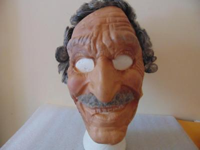Vintage Old Man Rubber Mask Curly Gray Hair Partially Bald Wrinkles