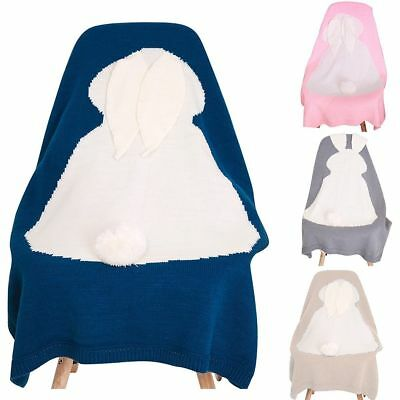 Bunny Newborn Baby Knitted Napping Blanket Rabbit Bedding Towel Throws Wrap Soft