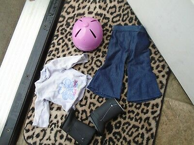 "Doll Clothes LOT Fits 18"" American Girl 4 Outfits Tops Pants,boots,helmet"